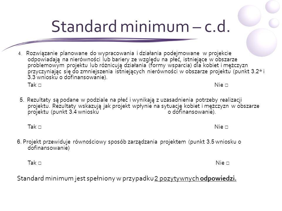 Standard minimum – c.d.