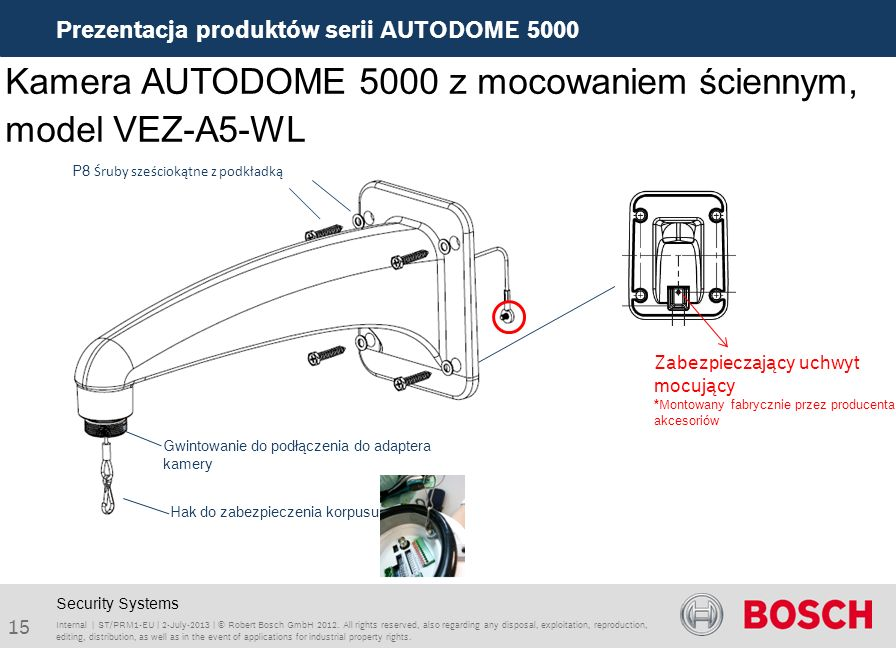 Kamera AUTODOME 5000 z mocowaniem ściennym, model VEZ-A5-WL