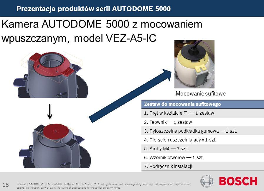 Kamera AUTODOME 5000 z mocowaniem wpuszczanym, model VEZ-A5-IC