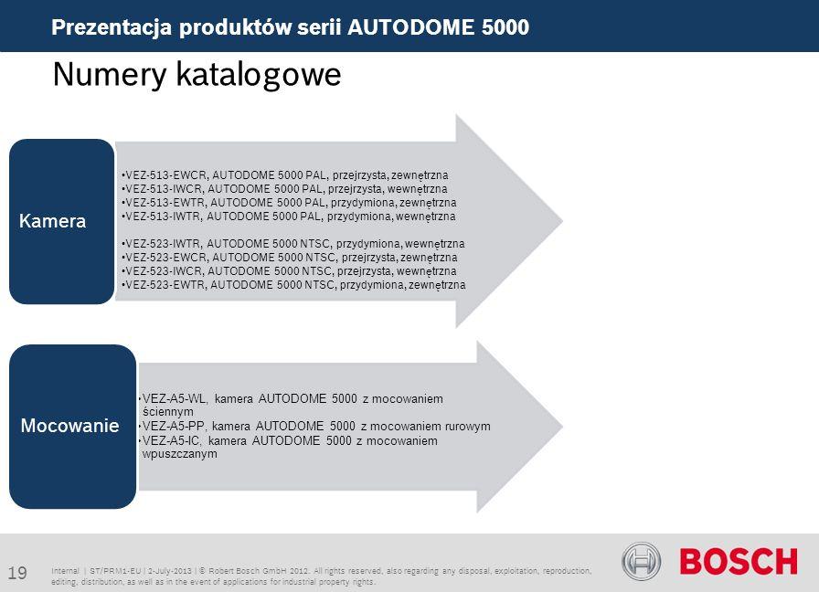 Numery katalogowe Prezentacja produktów serii AUTODOME 5000 Kamera