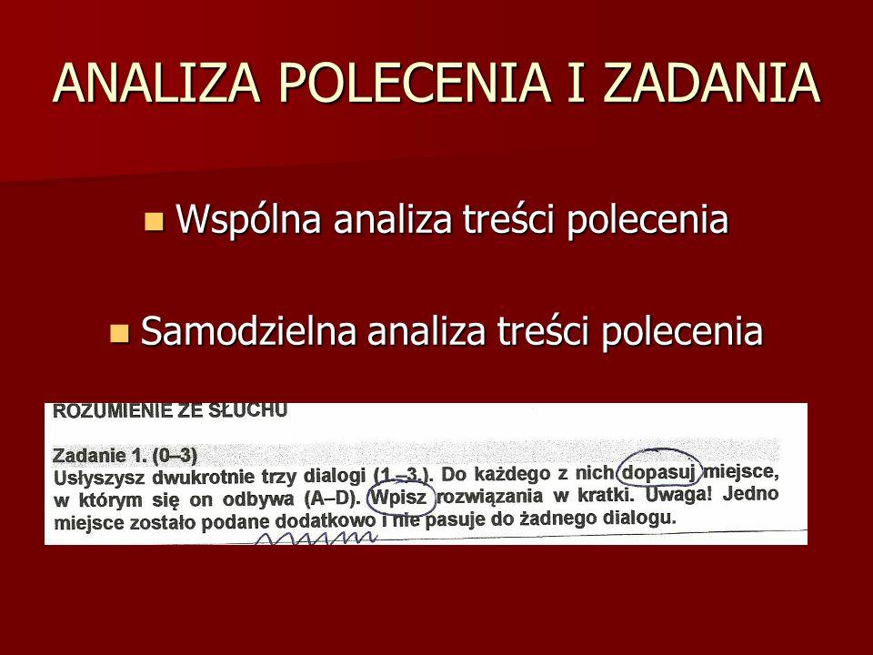 ANALIZA POLECENIA I ZADANIA