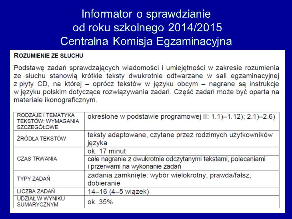 Informator o sprawdzianie od roku szkolnego 2014/2015 Centralna Komisja Egzaminacyjna