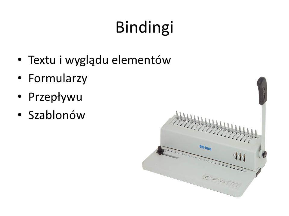 Bindingi Textu i wyglądu elementów Formularzy Przepływu Szablonów