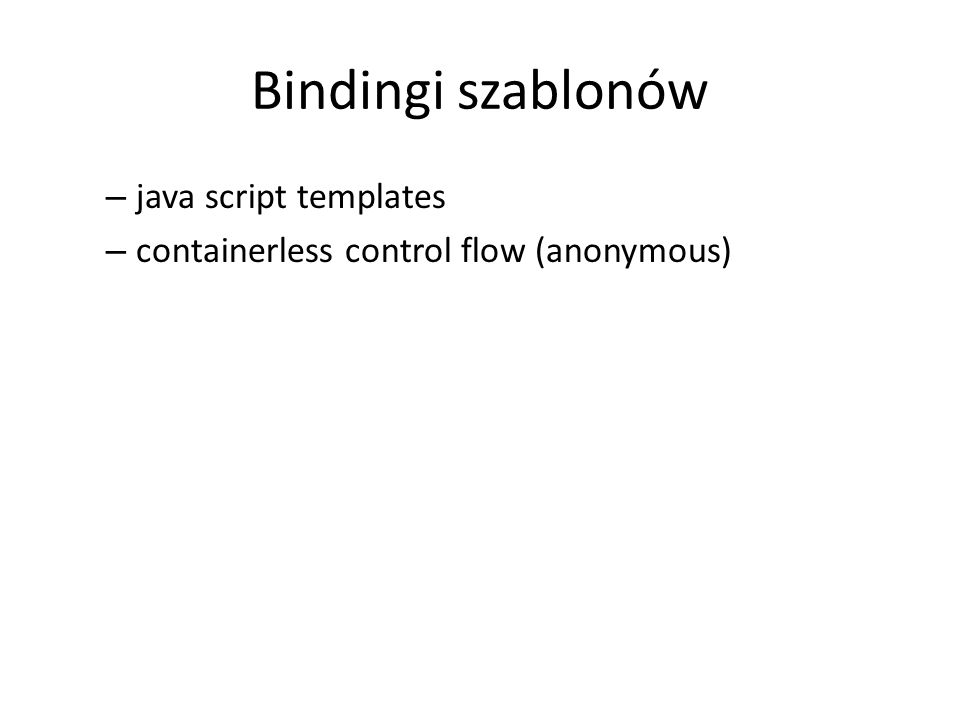 Bindingi szablonów java script templates