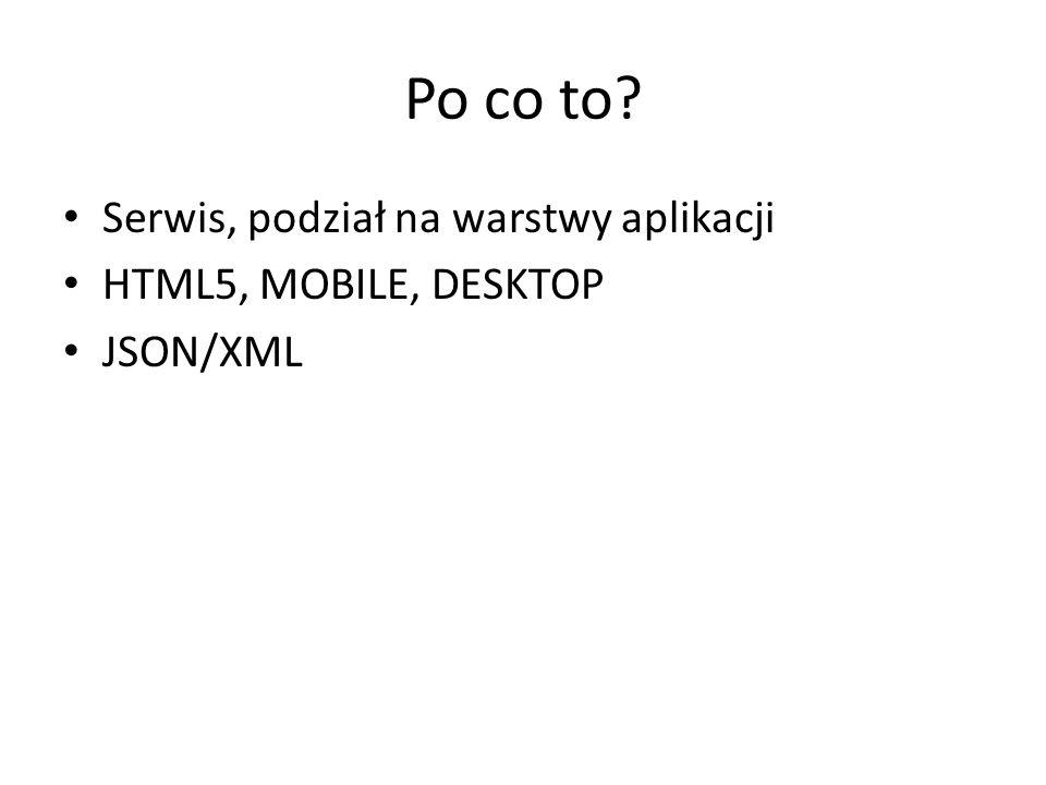 Po co to Serwis, podział na warstwy aplikacji HTML5, MOBILE, DESKTOP