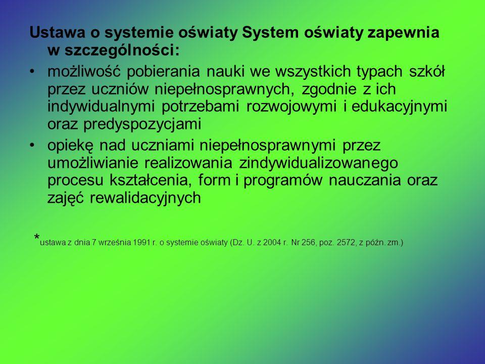 Ustawa o systemie oświaty System oświaty zapewnia w szczególności: