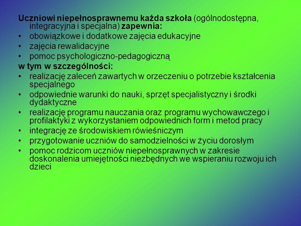 Uczniowi niepełnosprawnemu każda szkoła (ogólnodostępna, integracyjna i specjalna) zapewnia: