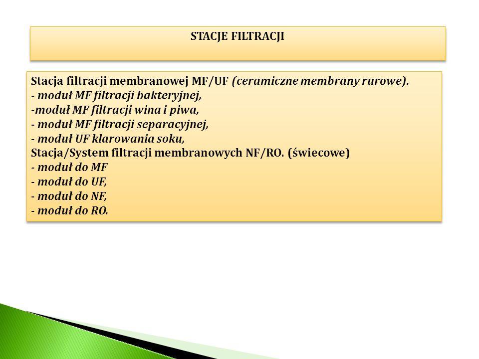 STACJE FILTRACJI Stacja filtracji membranowej MF/UF (ceramiczne membrany rurowe). - moduł MF filtracji bakteryjnej,