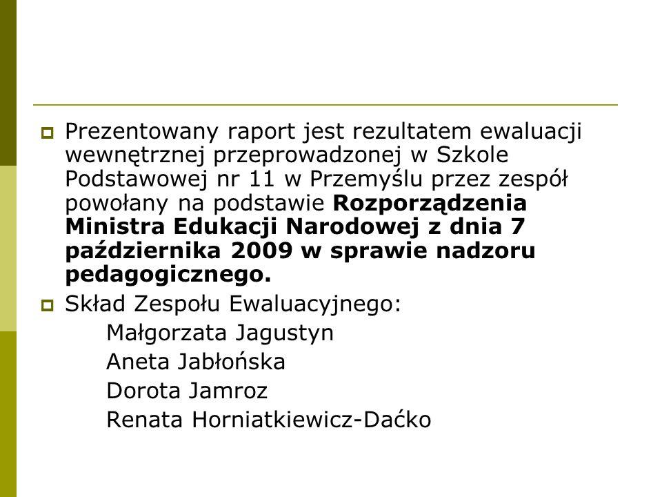Prezentowany raport jest rezultatem ewaluacji wewnętrznej przeprowadzonej w Szkole Podstawowej nr 11 w Przemyślu przez zespół powołany na podstawie Rozporządzenia Ministra Edukacji Narodowej z dnia 7 października 2009 w sprawie nadzoru pedagogicznego.