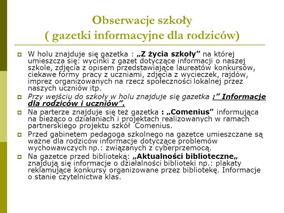 Obserwacje szkoły ( gazetki informacyjne dla rodziców)