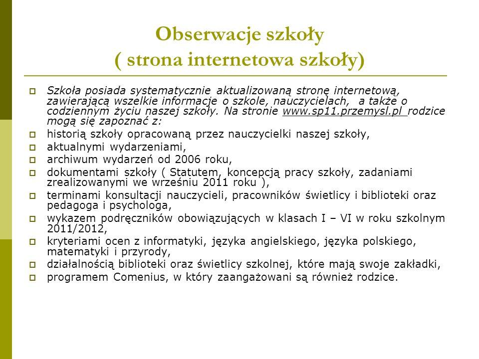 Obserwacje szkoły ( strona internetowa szkoły)