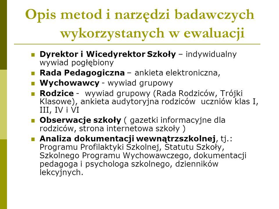 Opis metod i narzędzi badawczych wykorzystanych w ewaluacji