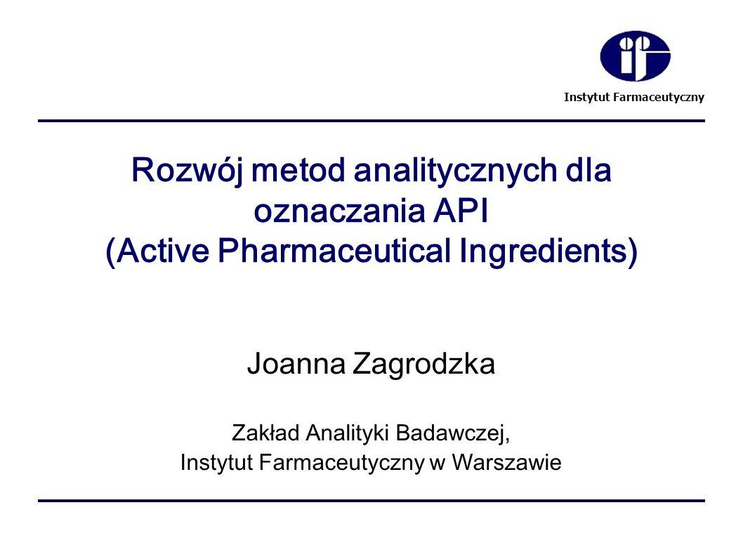 Rozwój metod analitycznych dla oznaczania API (Active Pharmaceutical Ingredients)