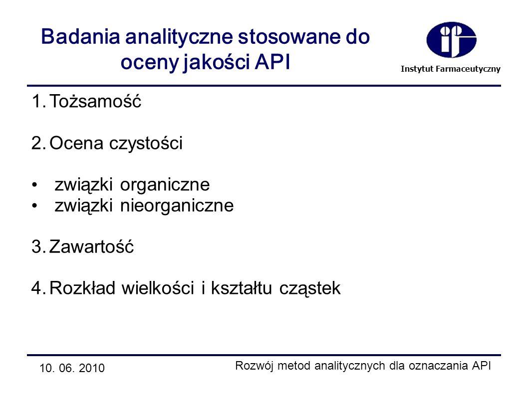 Badania analityczne stosowane do oceny jakości API