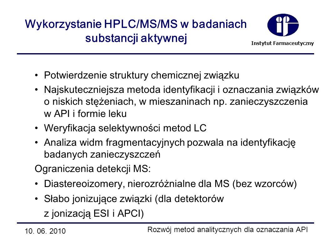 Wykorzystanie HPLC/MS/MS w badaniach substancji aktywnej