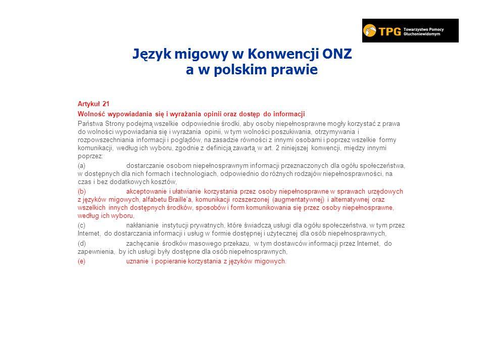 Język migowy w Konwencji ONZ a w polskim prawie