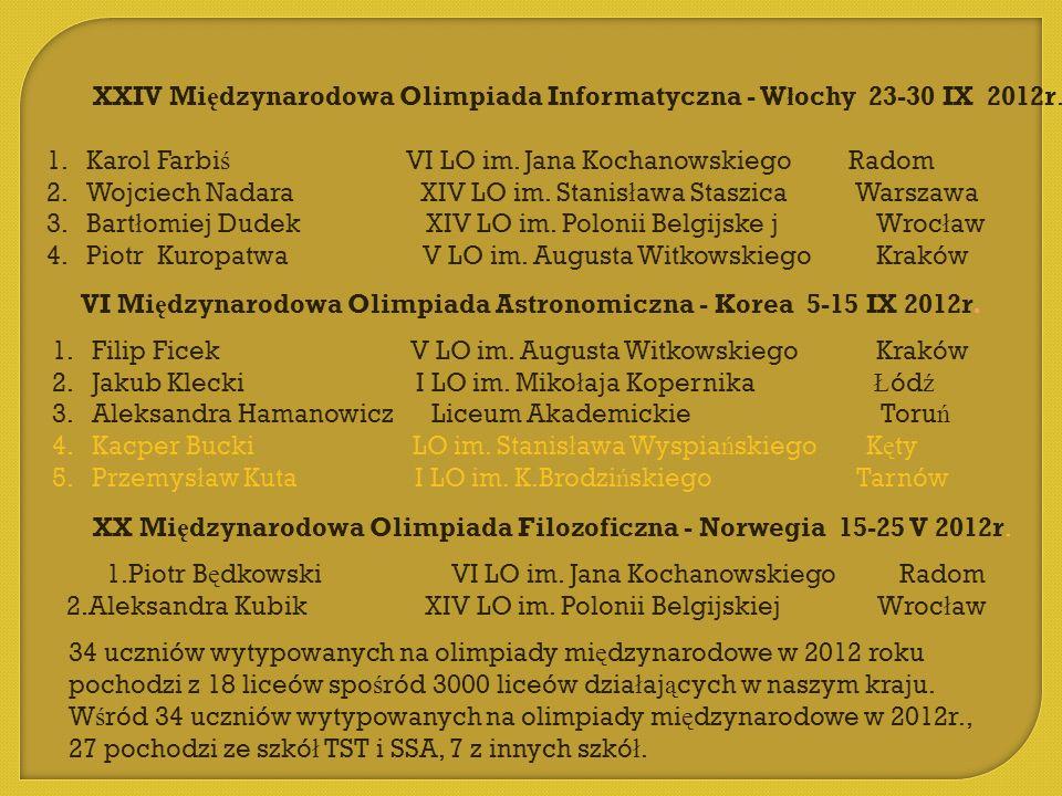 VI Międzynarodowa Olimpiada Astronomiczna - Korea 5-15 IX 2012r.
