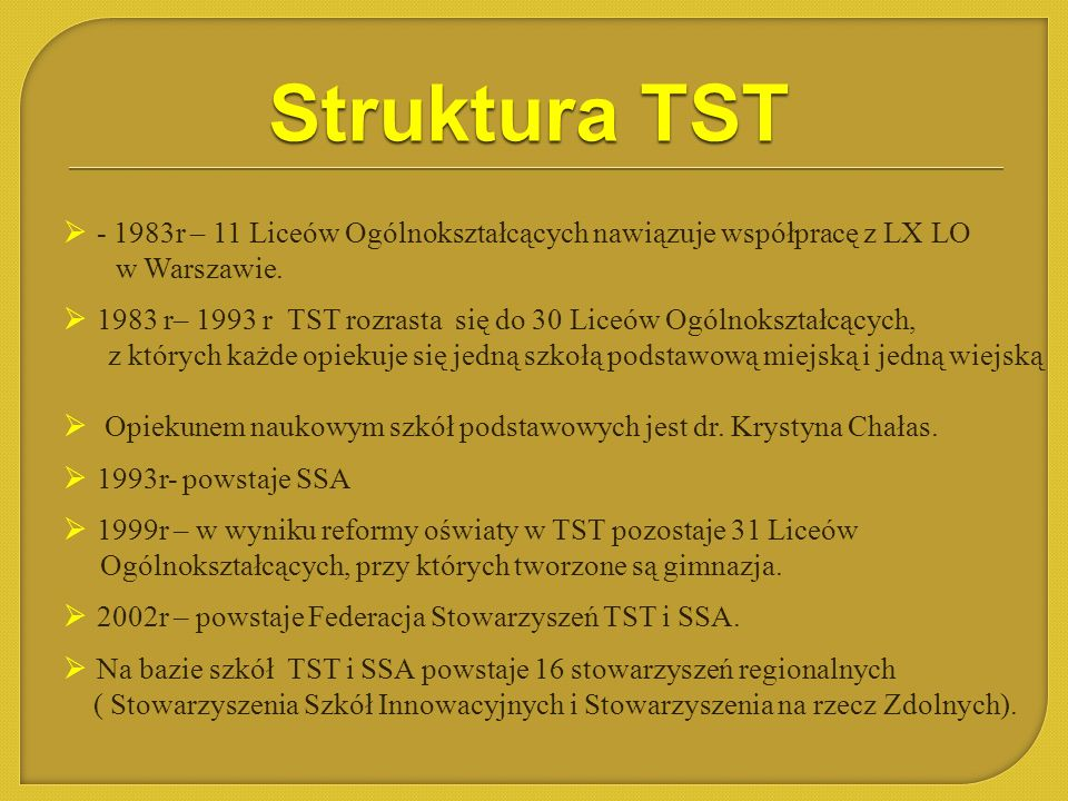Struktura TST - 1983r – 11 Liceów Ogólnokształcących nawiązuje współpracę z LX LO. w Warszawie.