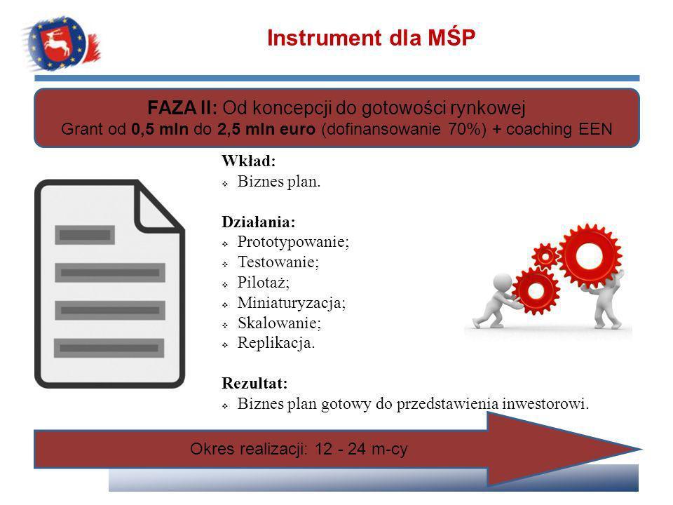 Instrument dla MŚP FAZA II: Od koncepcji do gotowości rynkowej