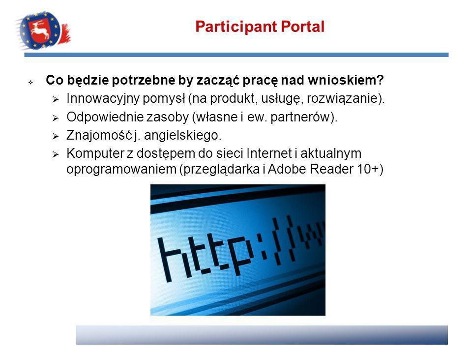 Participant Portal Co będzie potrzebne by zacząć pracę nad wnioskiem