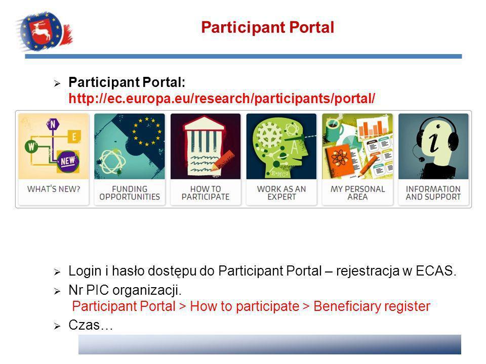 Participant Portal Participant Portal: http://ec.europa.eu/research/participants/portal/