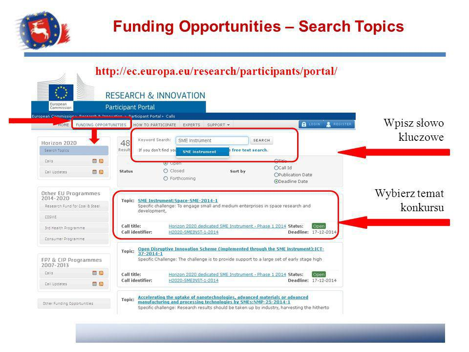 Funding Opportunities – Search Topics