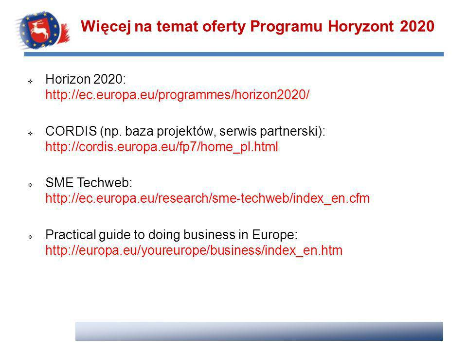 Więcej na temat oferty Programu Horyzont 2020