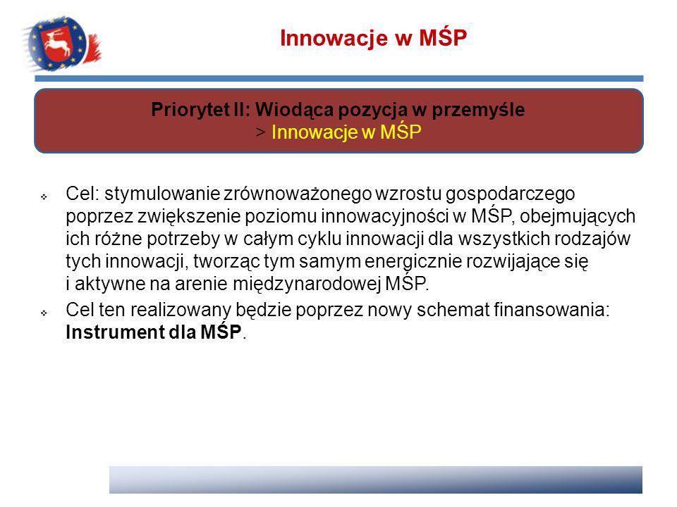 Priorytet II: Wiodąca pozycja w przemyśle > Innowacje w MŚP