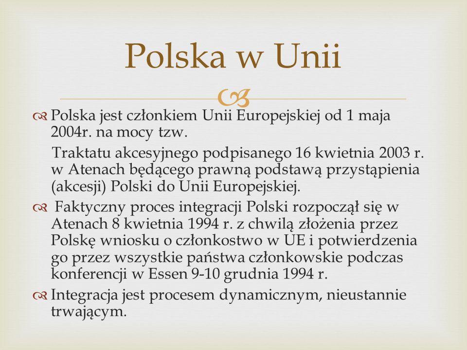 Polska w Unii Polska jest członkiem Unii Europejskiej od 1 maja 2004r. na mocy tzw.