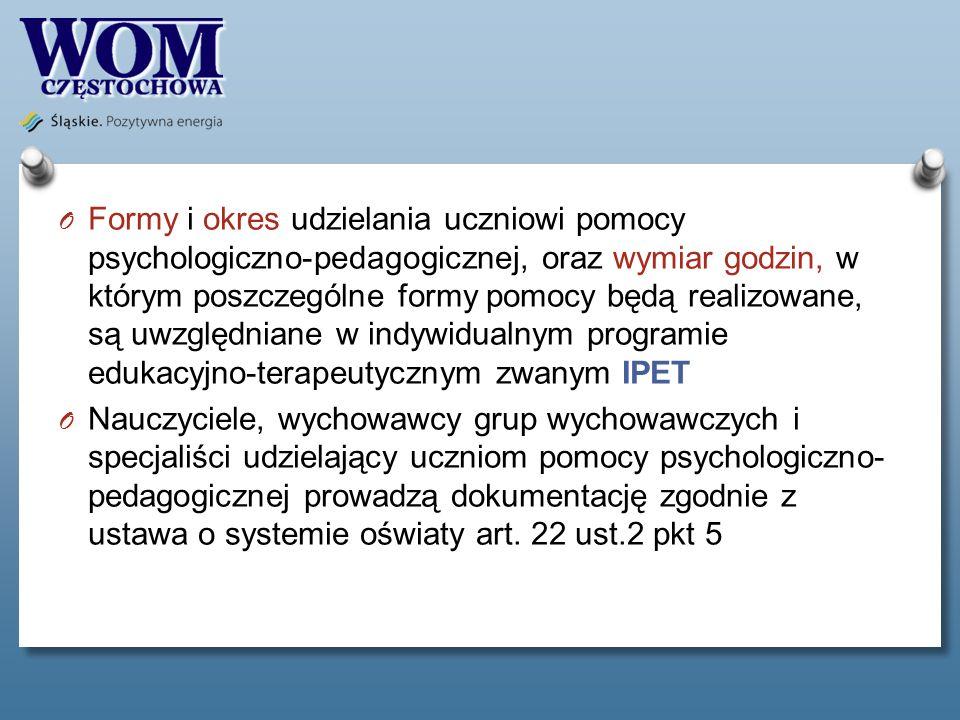 Formy i okres udzielania uczniowi pomocy psychologiczno-pedagogicznej, oraz wymiar godzin, w którym poszczególne formy pomocy będą realizowane, są uwzględniane w indywidualnym programie edukacyjno-terapeutycznym zwanym IPET