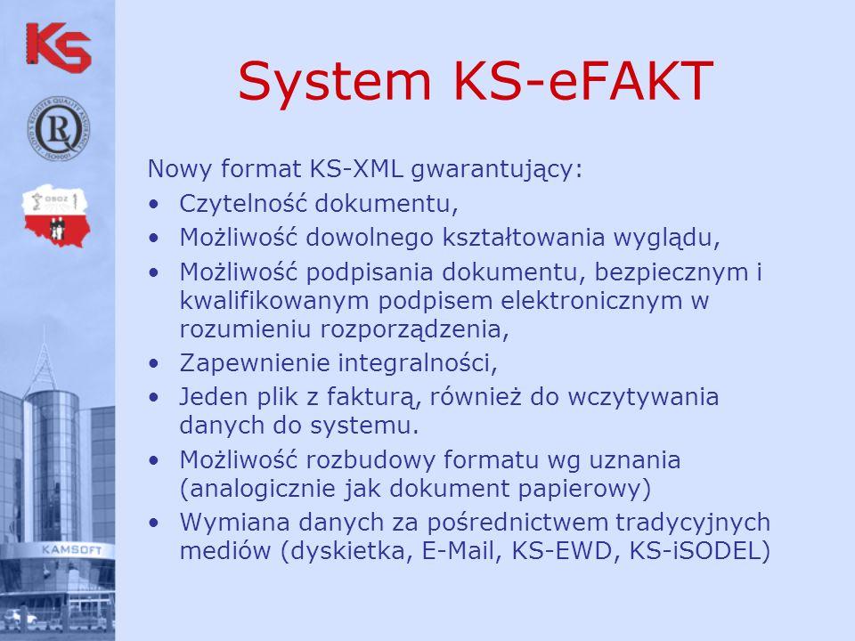 System KS-eFAKT Nowy format KS-XML gwarantujący: Czytelność dokumentu,