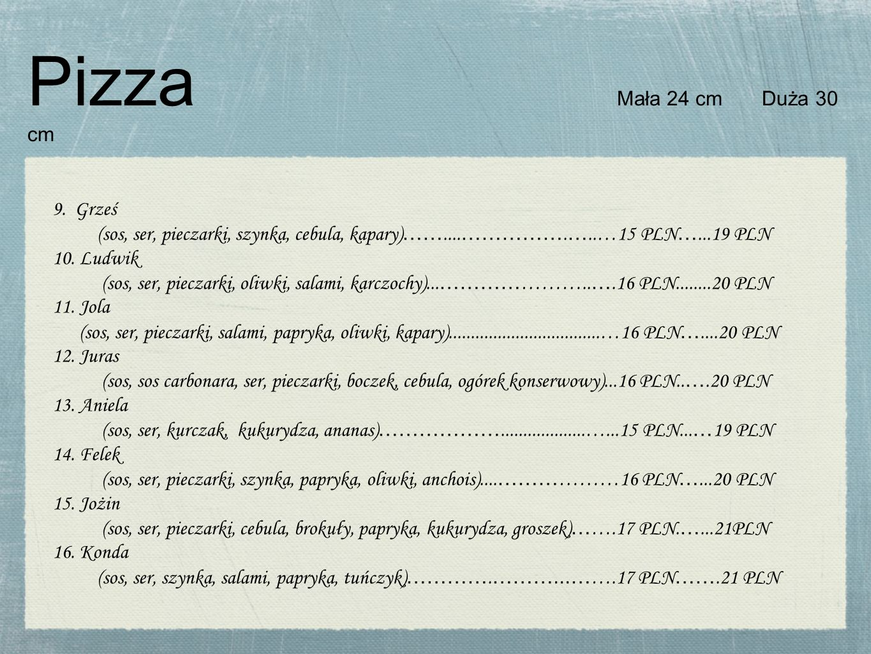 Pizza Mała 24 cm Duża 30 cm 9. Grześ