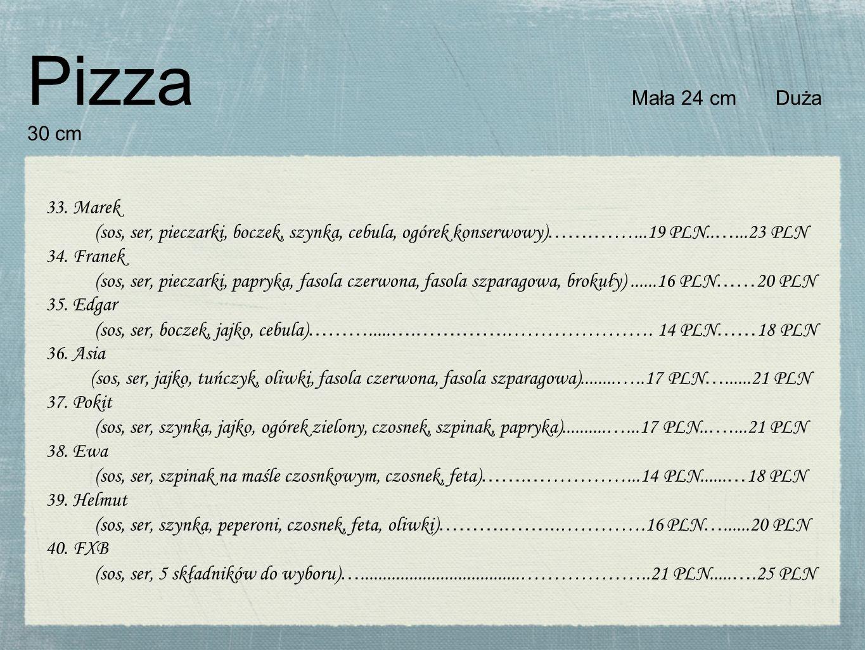 Pizza Mała 24 cm Duża 30 cm 33. Marek