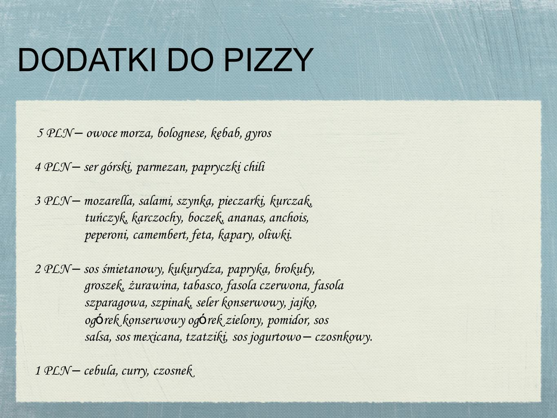DODATKI DO PIZZY 5 PLN – owoce morza, bolognese, kebab, gyros