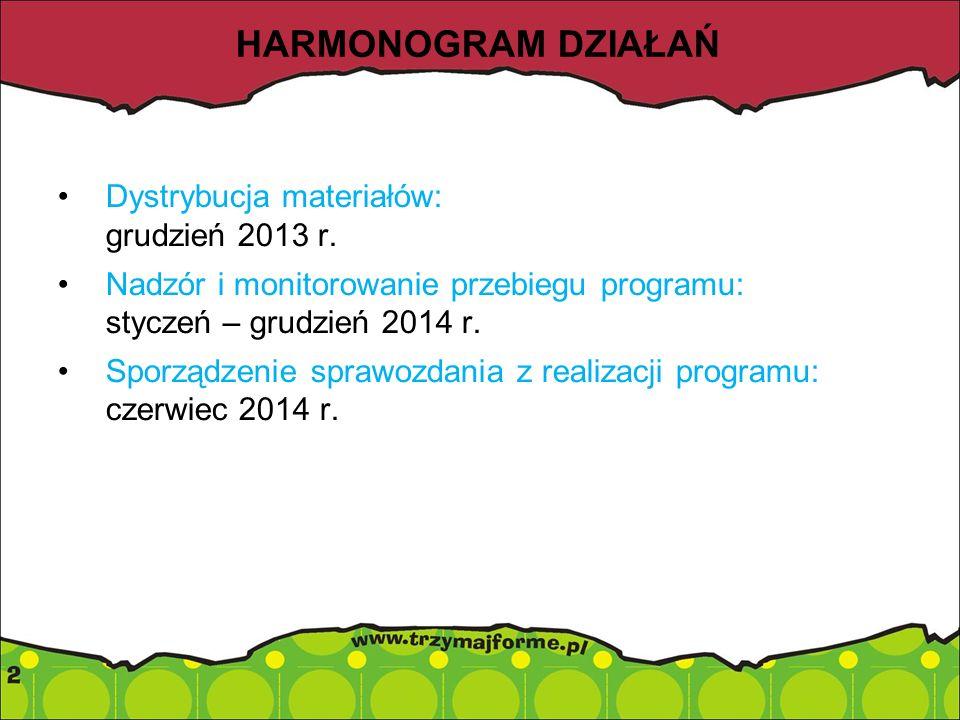 HARMONOGRAM DZIAŁAŃ Dystrybucja materiałów: grudzień 2013 r.