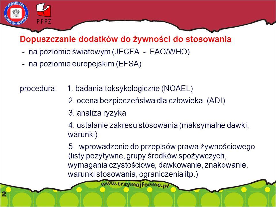 Dopuszczanie dodatków do żywności do stosowania - na poziomie światowym (JECFA - FAO/WHO) - na poziomie europejskim (EFSA) procedura: 1.