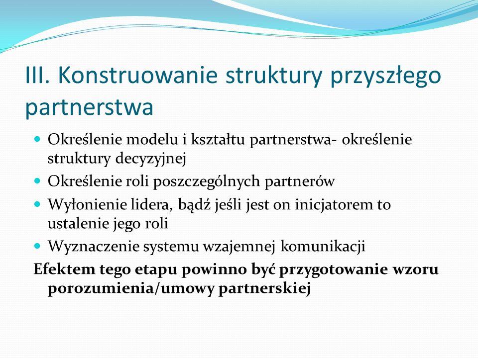 III. Konstruowanie struktury przyszłego partnerstwa