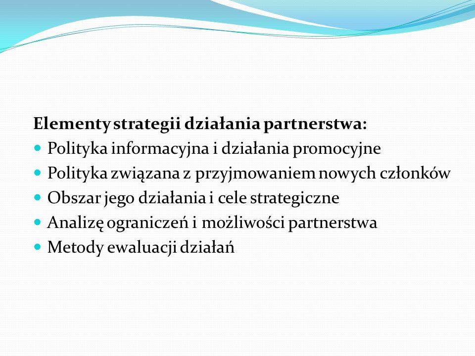 Elementy strategii działania partnerstwa: