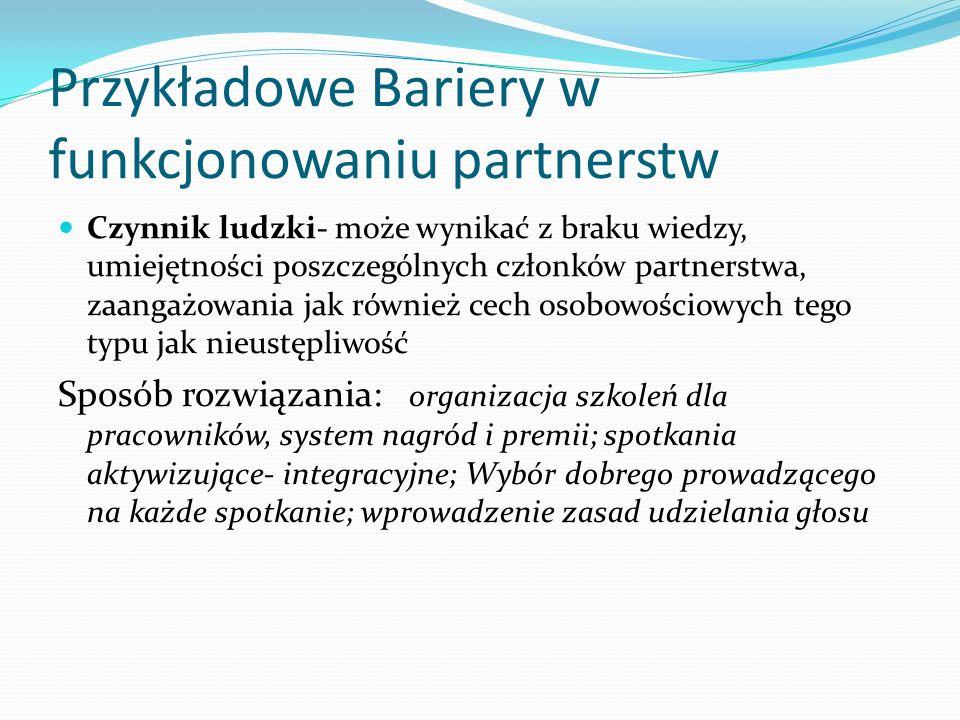 Przykładowe Bariery w funkcjonowaniu partnerstw