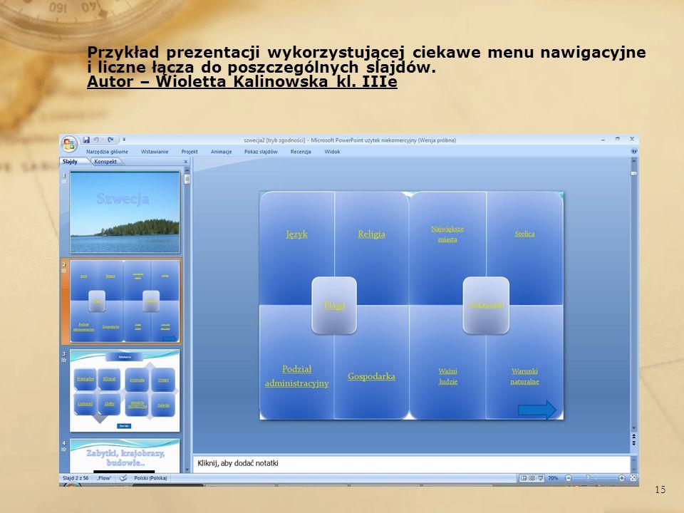 Przykład prezentacji wykorzystującej ciekawe menu nawigacyjne i liczne łącza do poszczególnych slajdów.