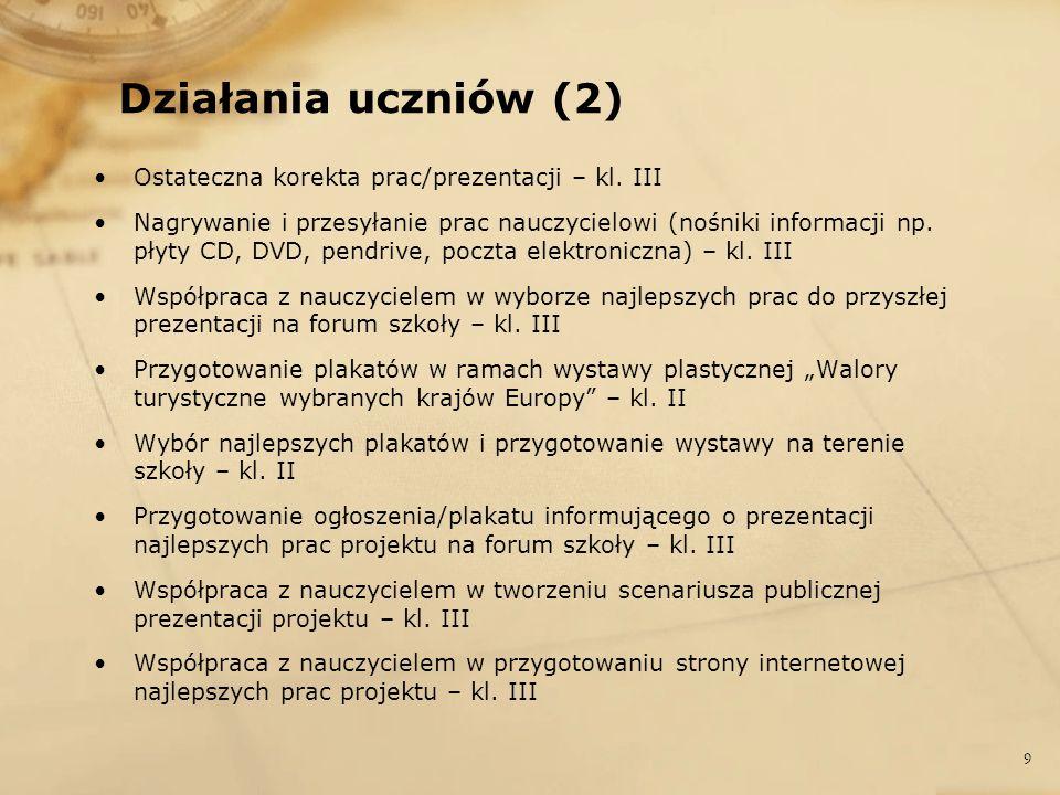 Działania uczniów (2) Ostateczna korekta prac/prezentacji – kl. III