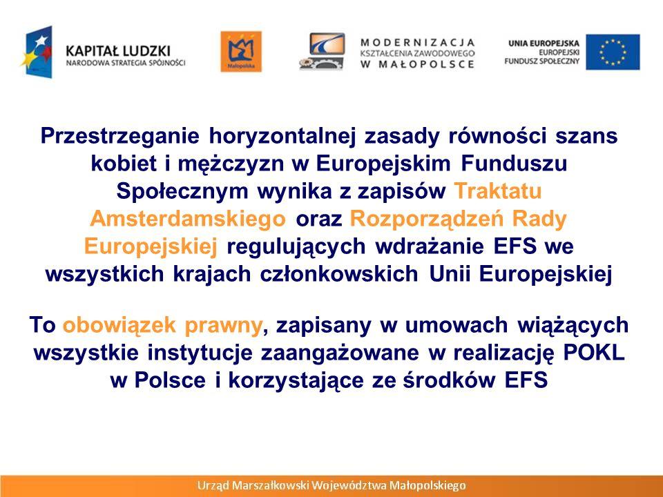 Przestrzeganie horyzontalnej zasady równości szans kobiet i mężczyzn w Europejskim Funduszu Społecznym wynika z zapisów Traktatu Amsterdamskiego oraz Rozporządzeń Rady Europejskiej regulujących wdrażanie EFS we wszystkich krajach członkowskich Unii Europejskiej