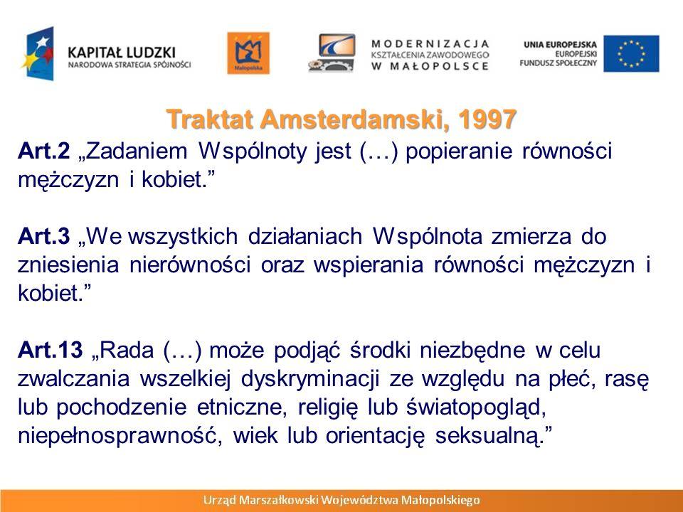 """Traktat Amsterdamski, 1997 Art.2 """"Zadaniem Wspólnoty jest (…) popieranie równości mężczyzn i kobiet."""
