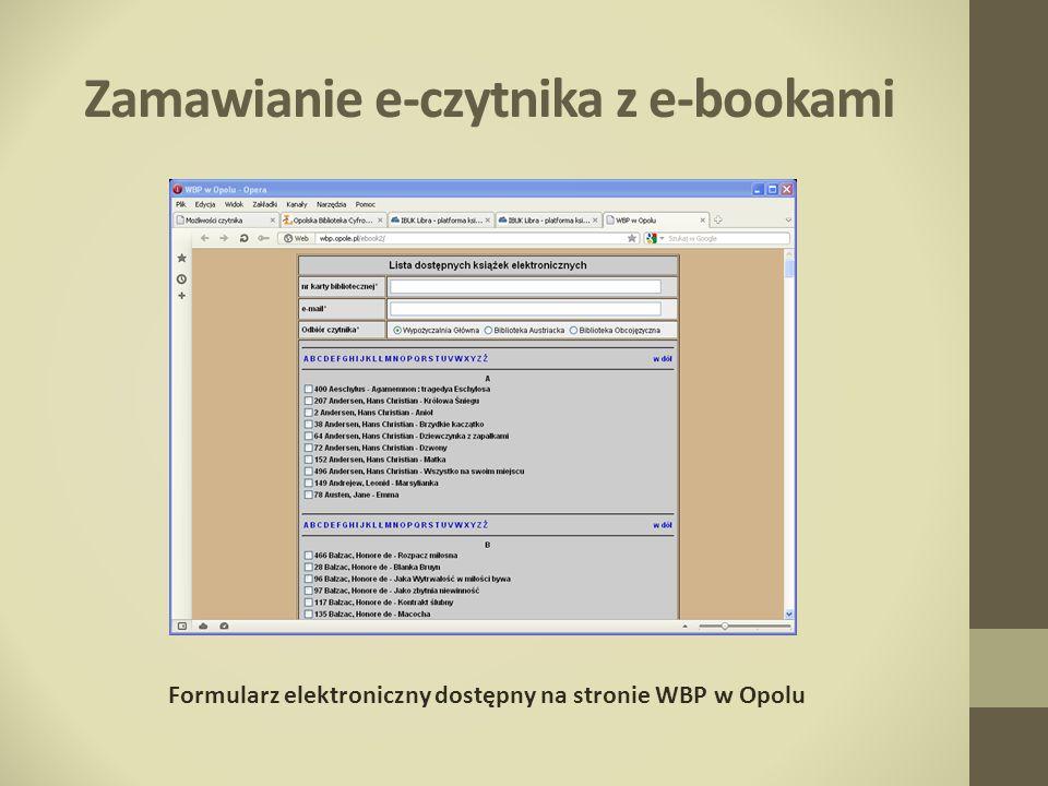 Zamawianie e-czytnika z e-bookami
