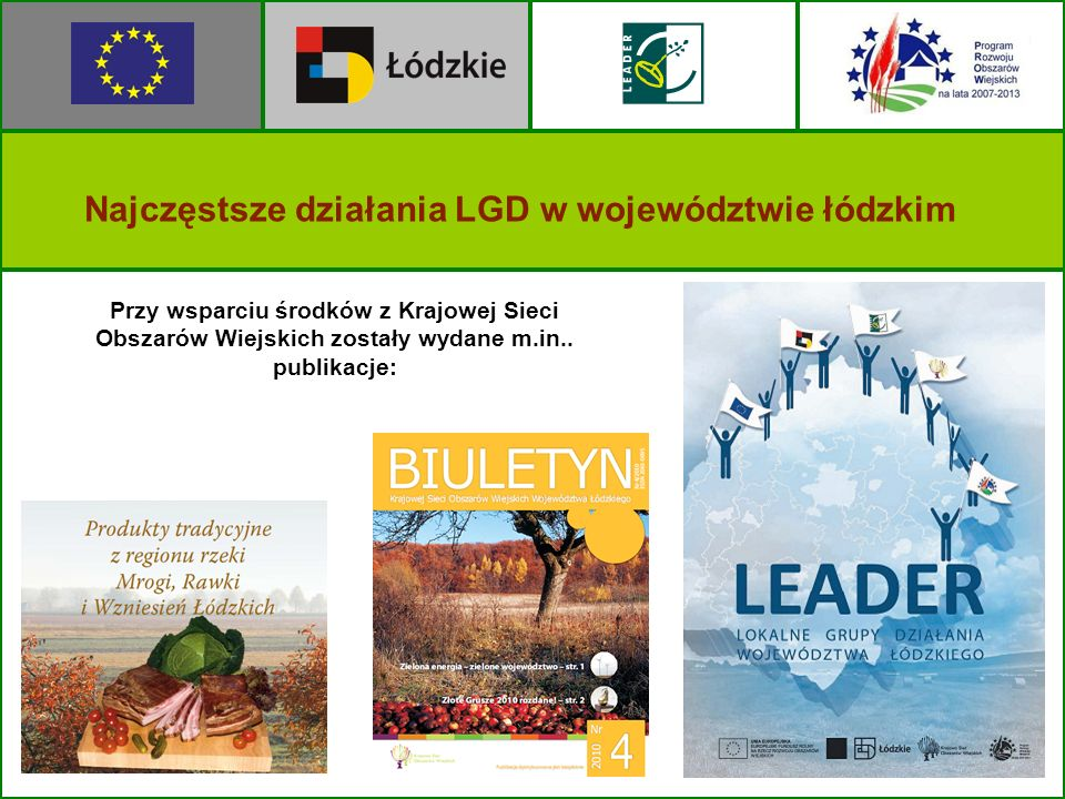 Najczęstsze działania LGD w województwie łódzkim