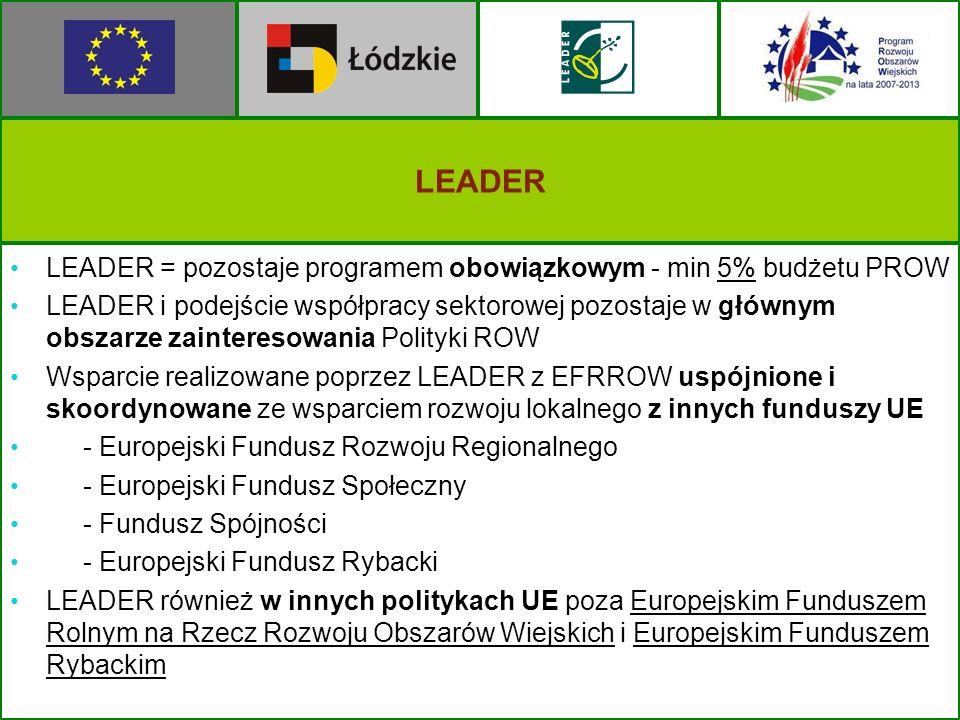 LEADER LEADER = pozostaje programem obowiązkowym - min 5% budżetu PROW