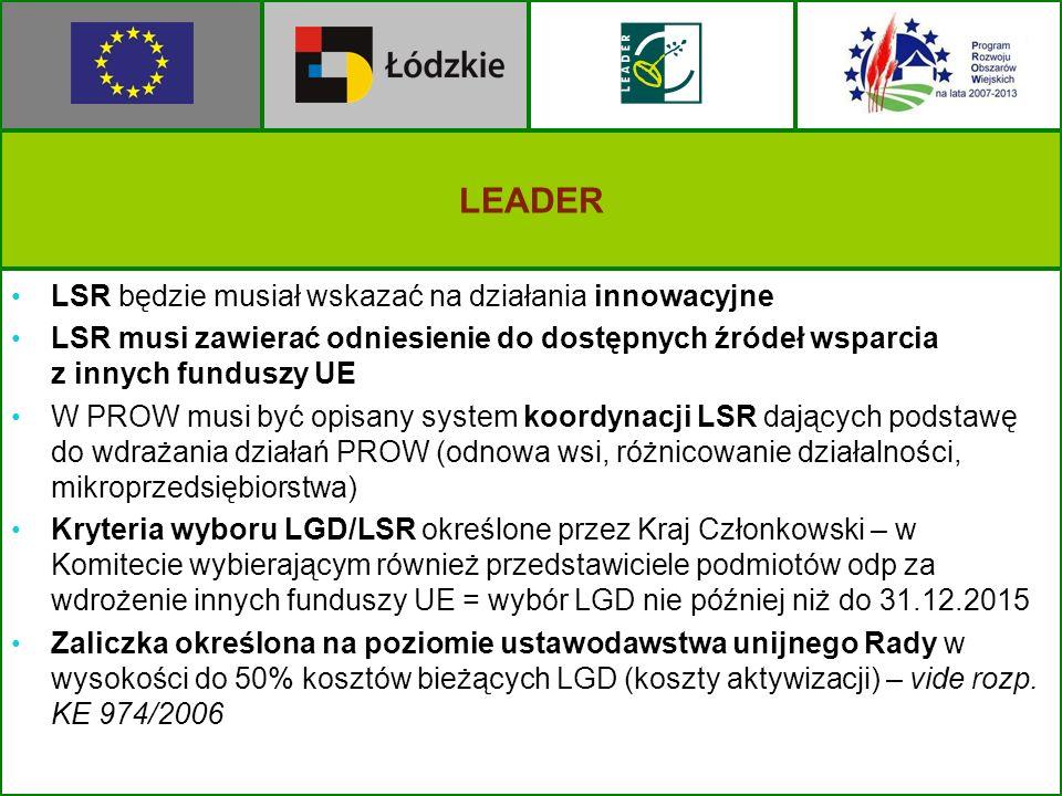LEADER LSR będzie musiał wskazać na działania innowacyjne