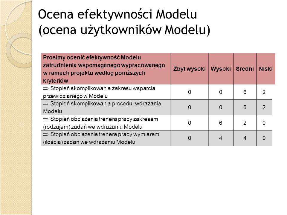 Ocena efektywności Modelu (ocena użytkowników Modelu)