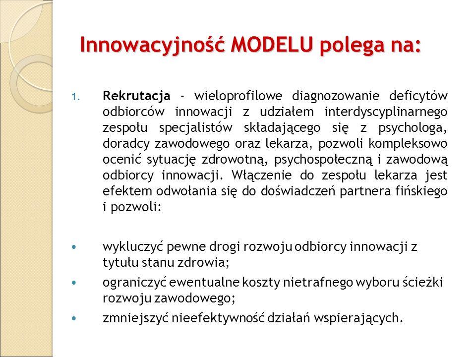 Innowacyjność MODELU polega na: