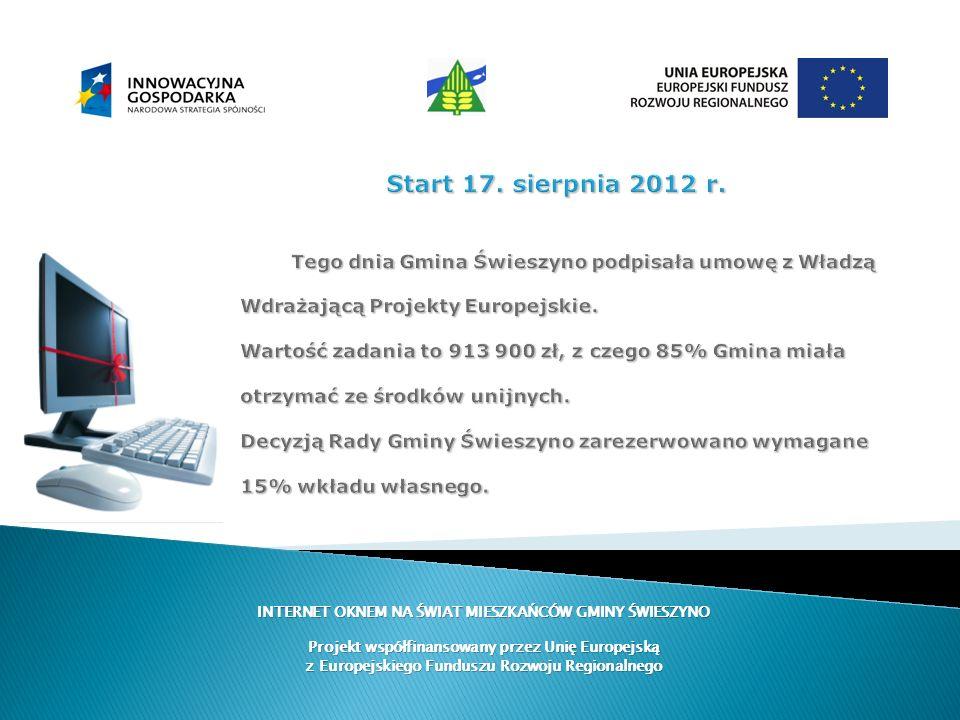 Start 17. sierpnia 2012 r. Tego dnia Gmina Świeszyno podpisała umowę z Władzą Wdrażającą Projekty Europejskie. Wartość zadania to 913 900 zł, z czego 85% Gmina miała otrzymać ze środków unijnych. Decyzją Rady Gminy Świeszyno zarezerwowano wymagane 15% wkładu własnego.